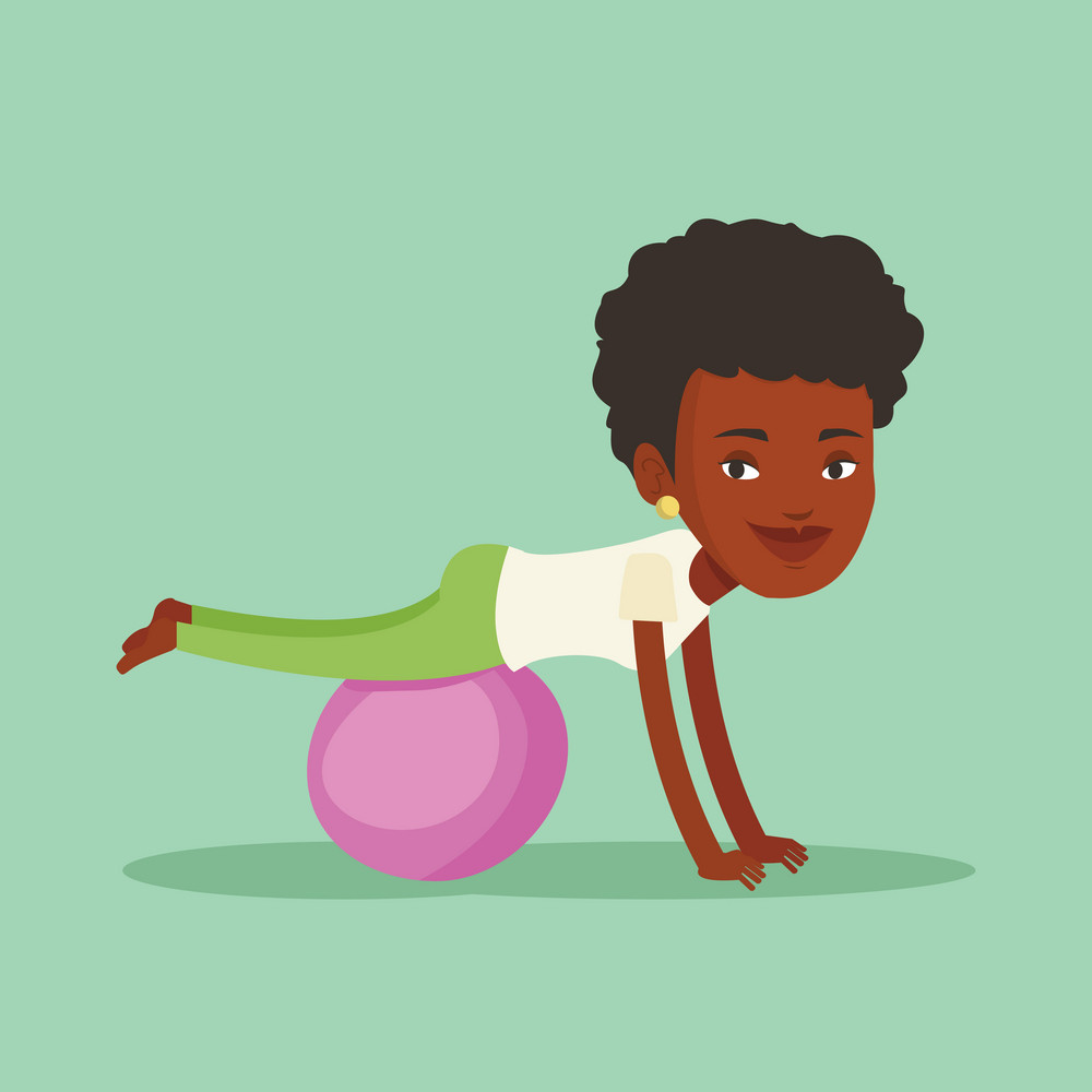 An african-american woman exercising with fitball. Woman training triceps and biceps while doing push ups on fitball. Woman doing exercises on fitball. Vector flat design illustration. Square layout.