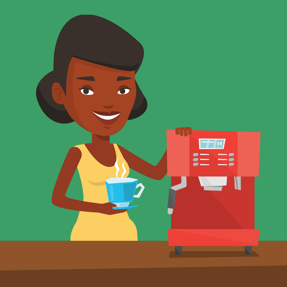 An african-american woman making coffee with a coffee-machine. Young woman holding cup of hot coffee in hand. Vector flat design illustration. Square layout.