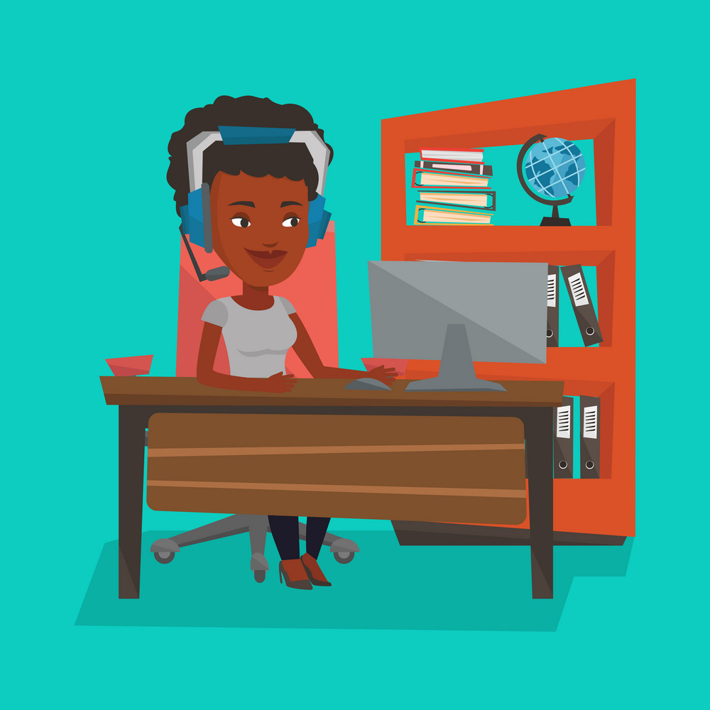 An african-american woman playing computer games. Young happy woman using computer for playing games. Cheerful woman in headphones playing online games. Vector flat design illustration. Square layout.