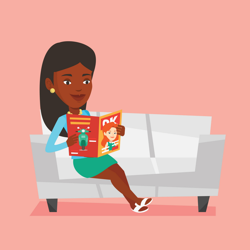 An african-american woman reading a magazine. Relaxed woman sitting on sofa and reading a magazine. Woman sitting on the couch with magazine in hands. Vector flat design illustration. Square layout.