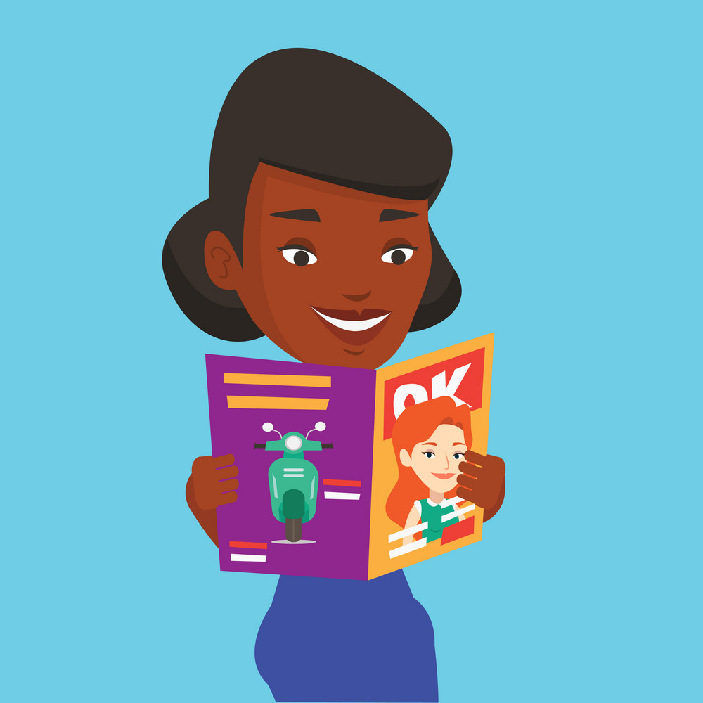 An african-american woman reading a magazine. Young woman standing with magazine in hands. Happy woman reading good news in a magazine. Vector flat design illustration. Square layout.