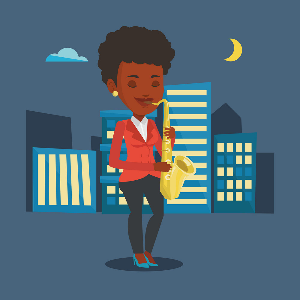 An african-american woman with eyes closed playing on saxophone in the night. Musician playing on saxophone. Musician with saxophone in the city street. Vector flat design illustration. Square layout.