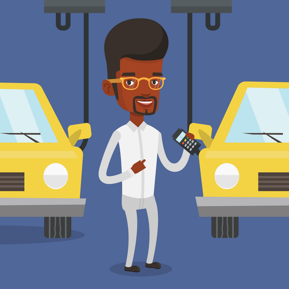 An african-american worker of car factory. Engineer at work on car factory. Worker controlling modern automated assembly line for cars. Car production. Vector flat design illustration. Square layout.