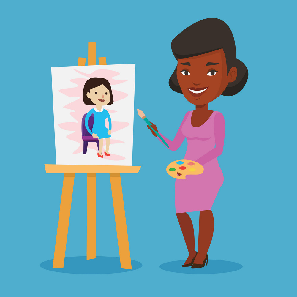 An african-american young artist painting a female model on canvas. Creative female artist drawing on an easel. Cheerful artist working on painting. Vector flat design illustration. Square layout.