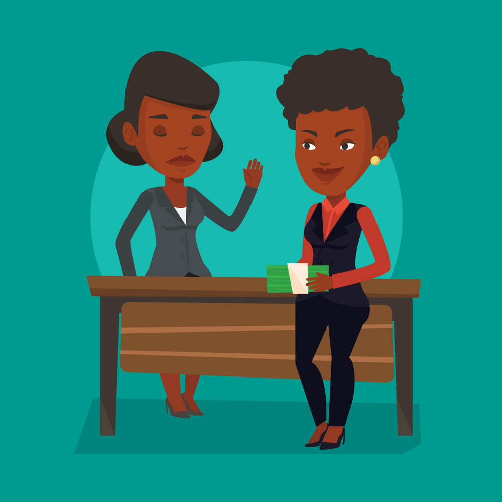 An african-american young business woman giving a bribe. Uncorrupted business woman refusing to take a bribe. Bribery and corruption concept. Vector flat design illustration. Square layout.