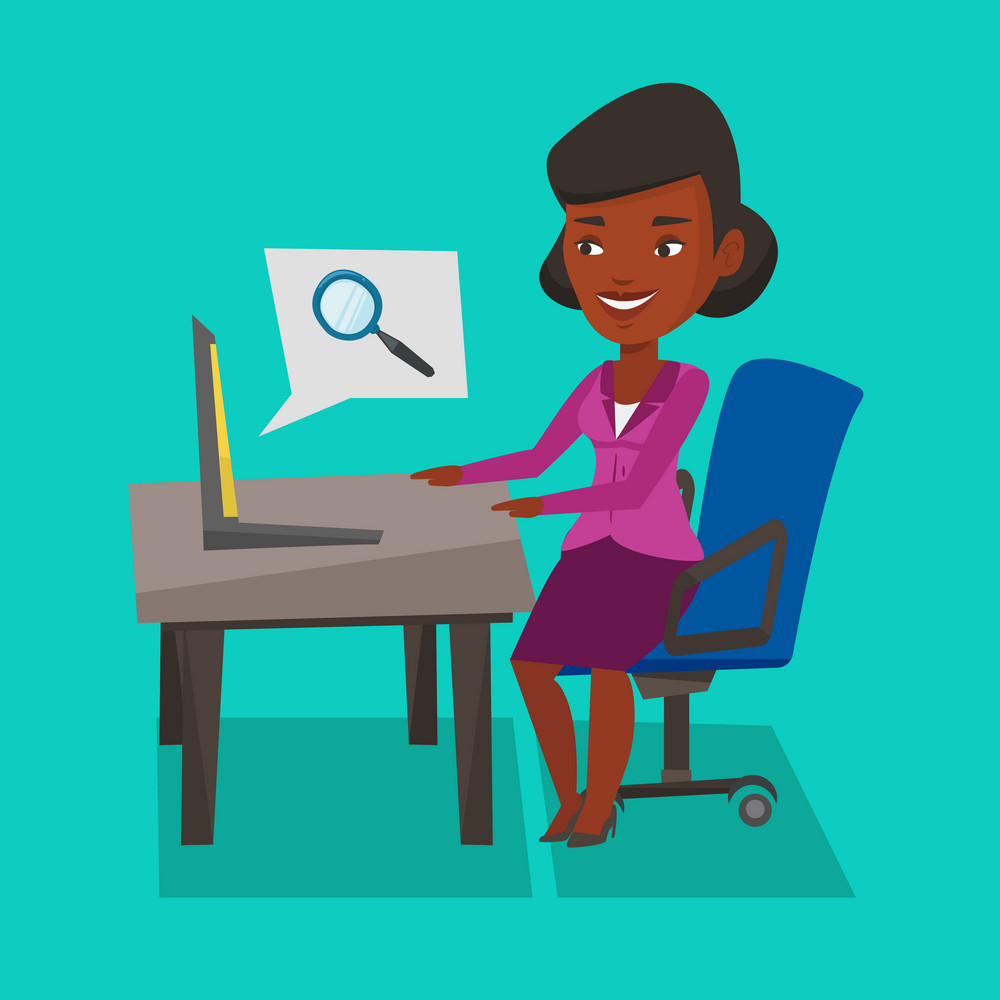 An african-american young business woman working on her laptop in office and searching information on internet. Internet search and job search concept. Vector flat design illustration. Square layout.