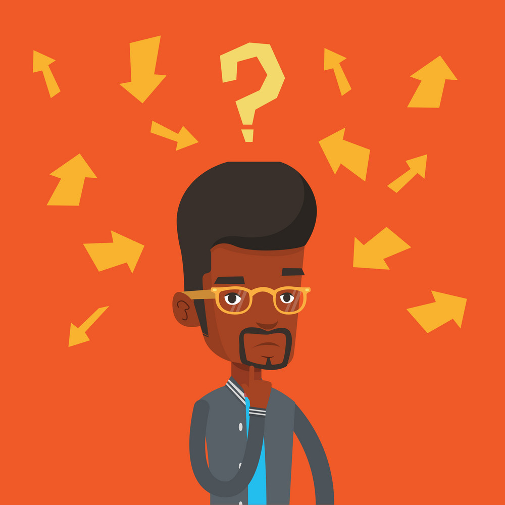 An african-american young businessman thinking under question mark and arrows. Thoughtful businessman with question mark. Business thinking concept. Vector flat design illustration. Square layout.