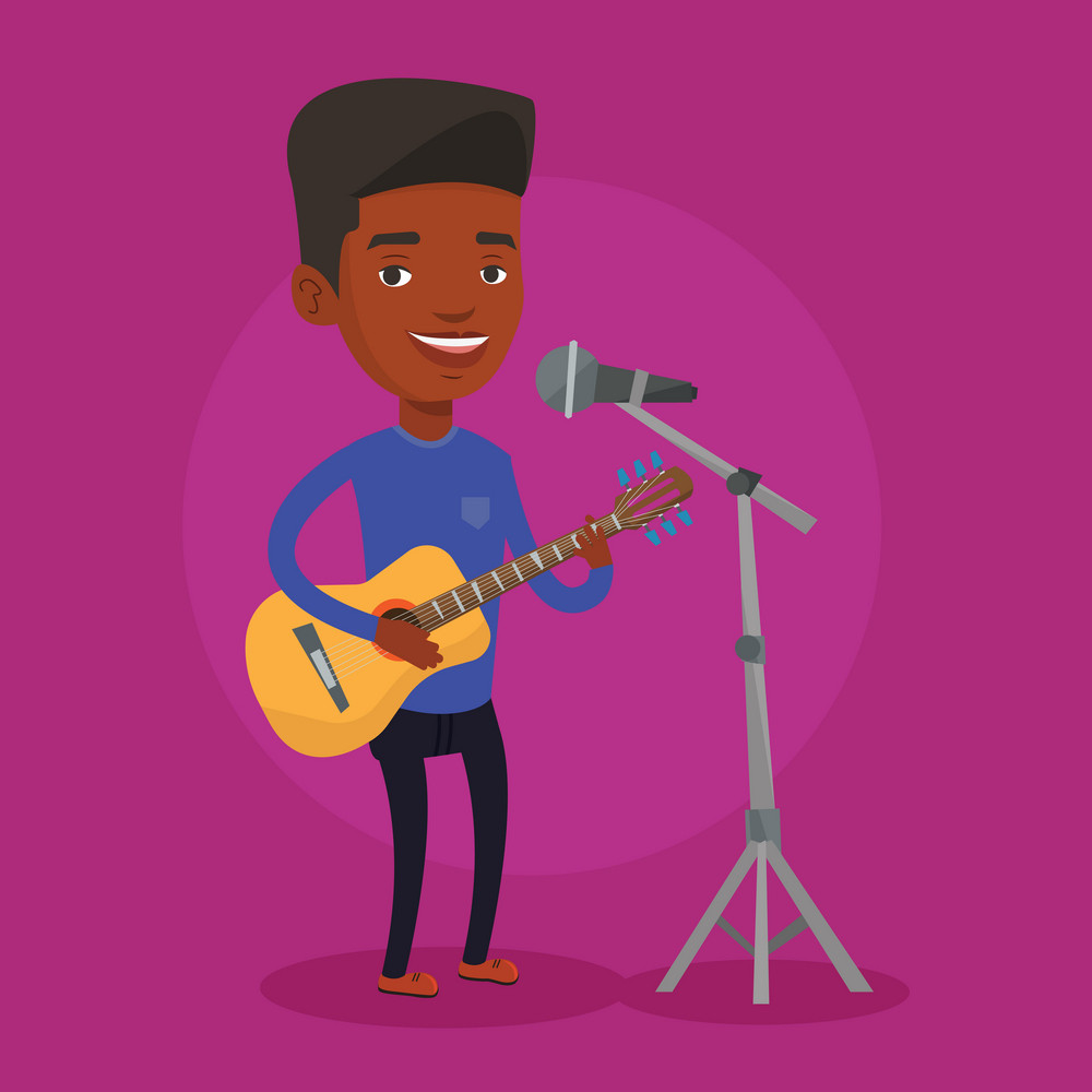 An african-american young guitar player singing song and playing an acoustic guitar. Singer singing into a microphone and playing an acoustic guitar. Vector flat design illustration. Square layout.