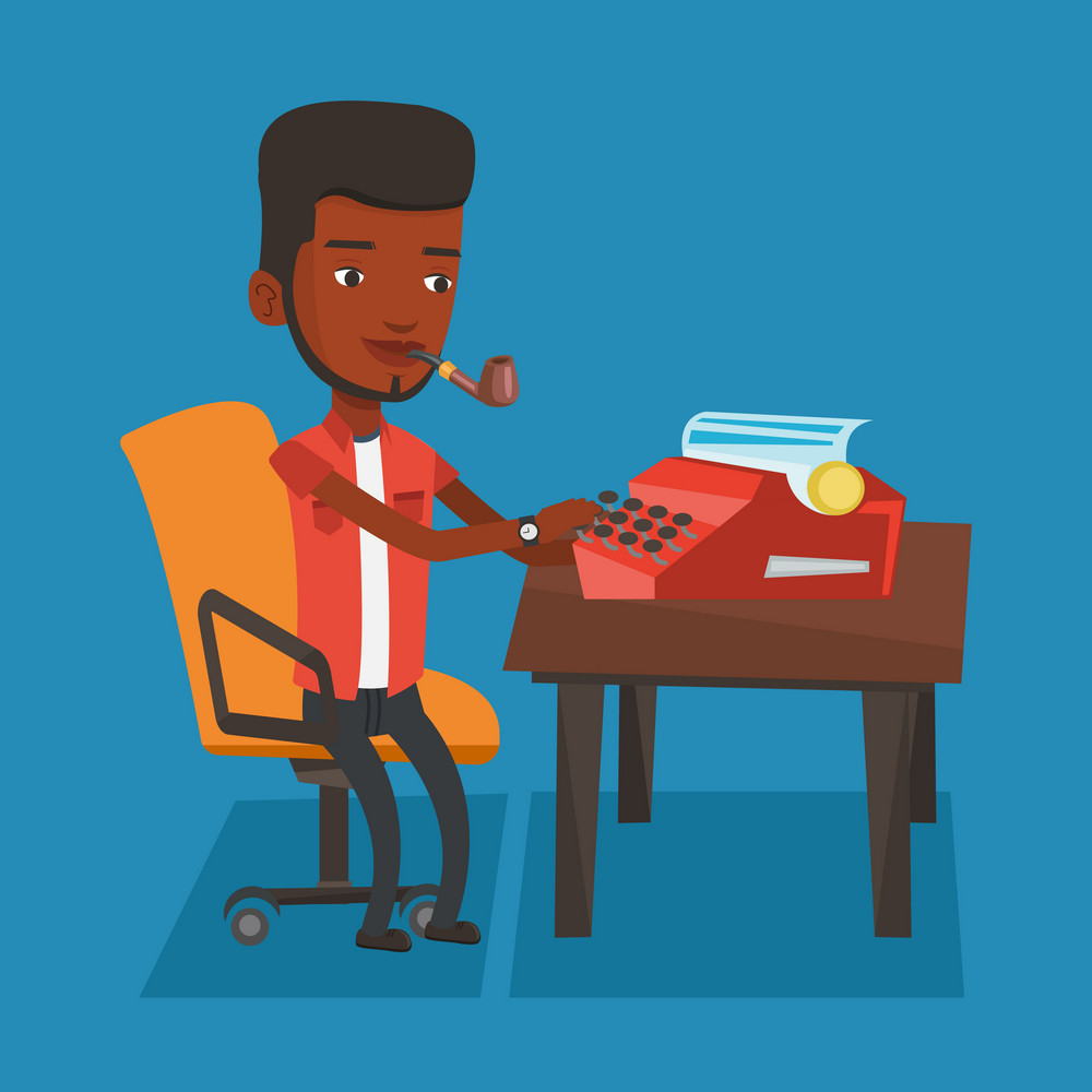 An african-american young journalist writing an article on a vintage typewriter. Concentrated journalist working on retro typewriter and smoking pipe. Vector flat design illustration. Square layout.