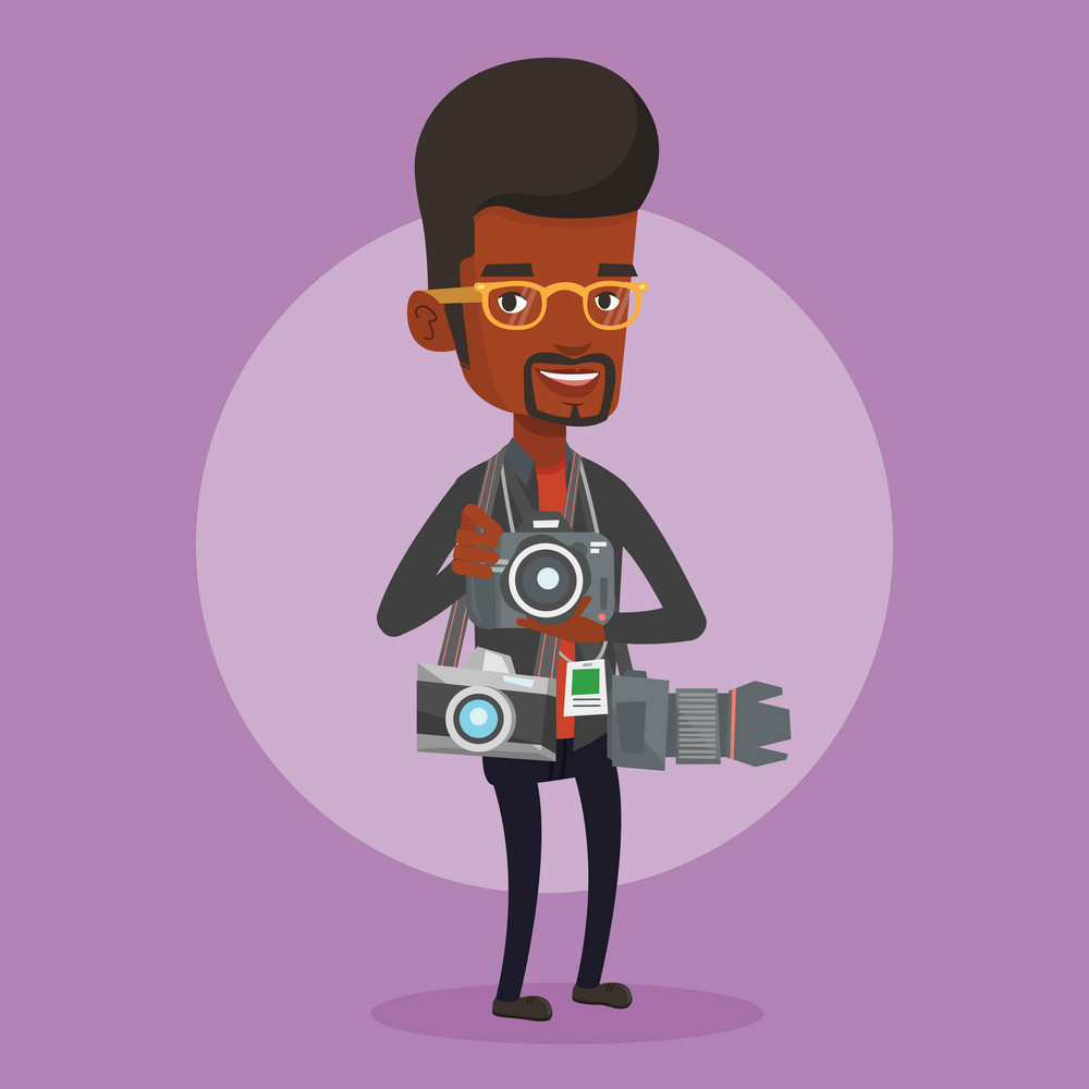 An african-american young male photographer with many photo cameras equipment. Paparazzi using many cameras. Journalist working with many cameras. Vector flat design illustration. Square layout.