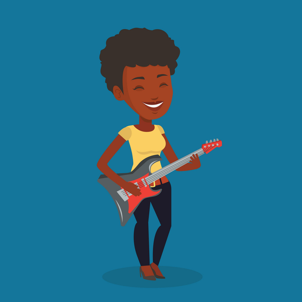 An african-american young musician playing electric guitar. Woman practicing in playing guitar. Guitarist with her eyes closed playing music on guitar. Vector flat design illustration. Square layout.