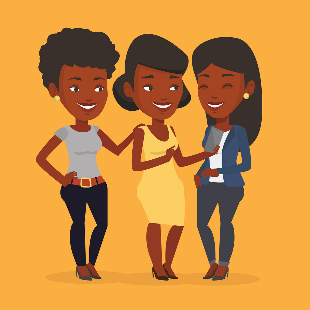 An african-american young smiling woman showing something to her friends on smartphone. Three happy female friends looking at smartphone and laughing. Vector flat design illustration. Square layout.