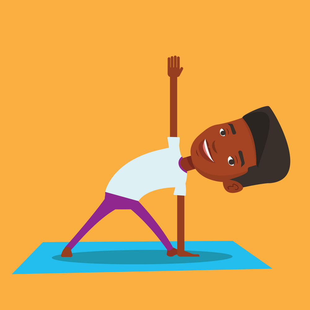An african-american young sportsman standing in yoga triangle pose. Sportsman meditating in yoga triangle position. Sporty man doing yoga on the mat. Vector flat design illustration. Square layout.