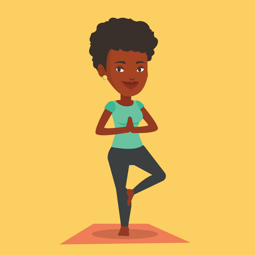 An african-american young sportswoman standing in yoga tree pose. Sportswoman meditating in yoga tree position. Sporty woman doing yoga on the mat. Vector flat design illustration. Square layout.