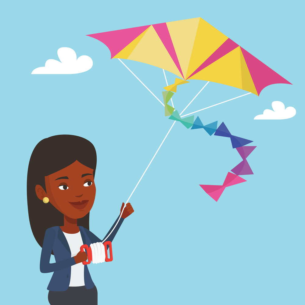 An african-american young woman flying a colourful kite. Smiling woman controlling a kite. Happy woman walking with kite. Vector flat design illustration. Square layout.