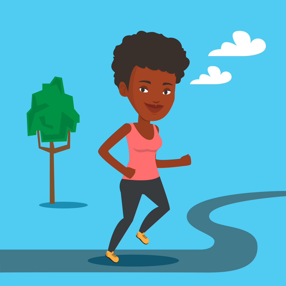 An african-american young woman running. Happy female sporty runner running outdoors. Smiling sportswoman running in the park. Vector flat design illustration. Square layout.