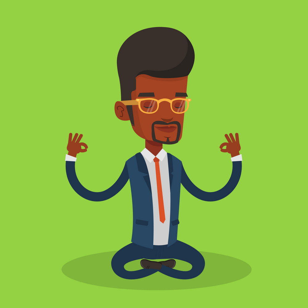 An african business man with eyes closed meditating in yoga lotus position. Business man relaxing in the yoga lotus position. Business man doing yoga. Vector flat design illustration. Square layout.