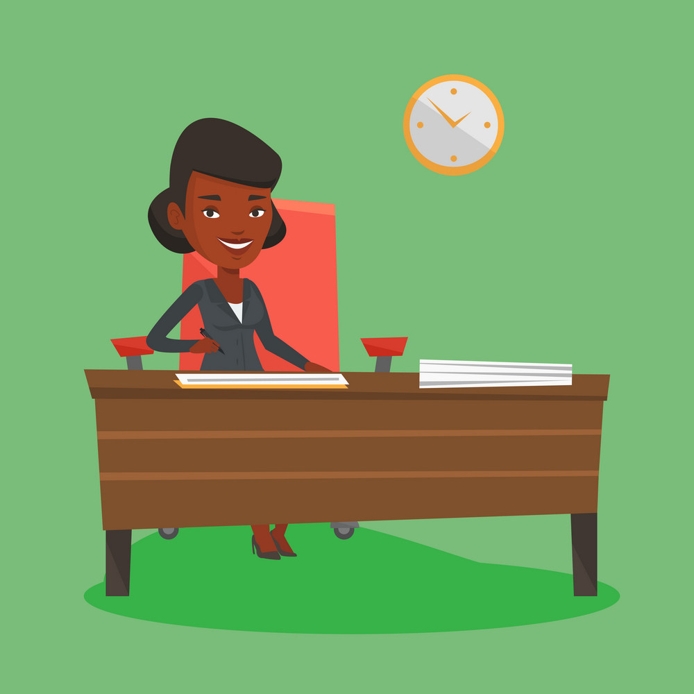 An african business woman signing contract in office. Woman is about to sign a business contract. Confirmation of transaction by signing of contract. Vector flat design illustration. Square layout