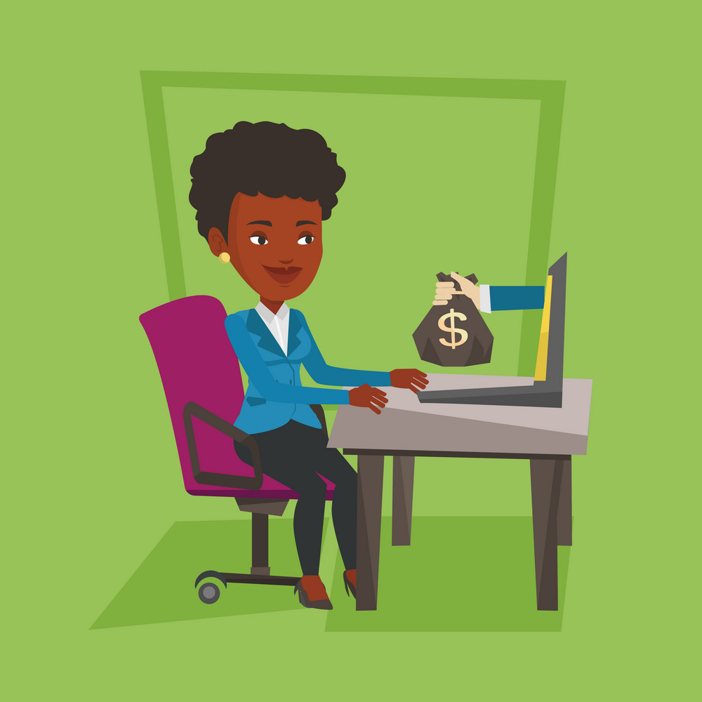 An african business woman working in office and bag of money coming out of laptop. Woman earning money from online business. Online business concept. Vector flat design illustration. Square layout