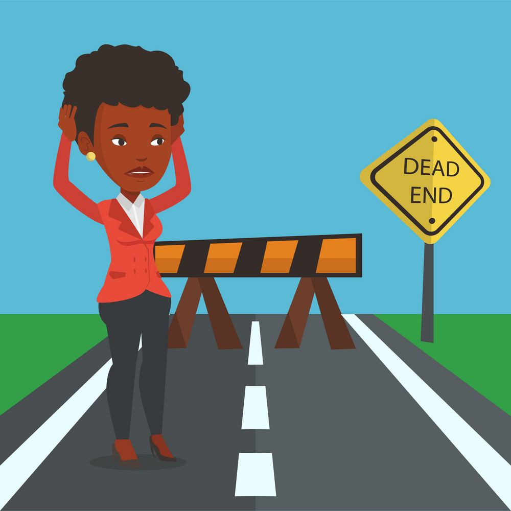 An african businesswoman looking at road sign dead end symbolizing business obstacle. Woman facing with business obstacle. Business obstacle concept. Vector flat design illustration. Square layout.