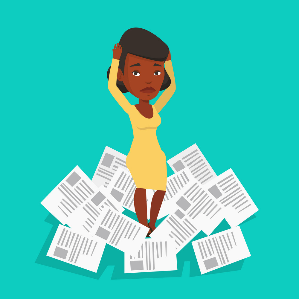 An african businesswoman surrounded by lots of papers. Overworked business woman having a lot of paperwork. Businesswoman standing in the heap of papers. Vector flat design illustration. Square layout