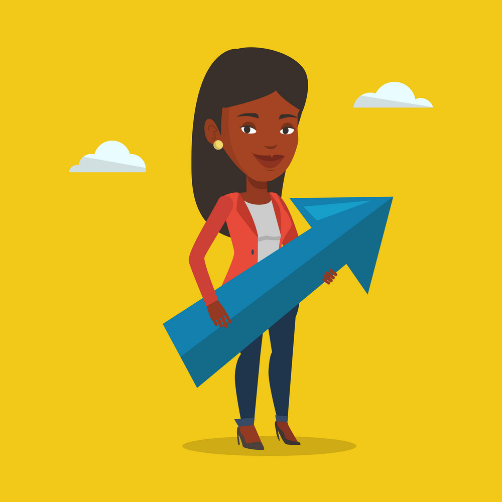 An african businesswoman thinking about strategy of business growth. Businesswoman holding arrow representing business growth. Business growth concept. Vector flat design illustration. Square layout.