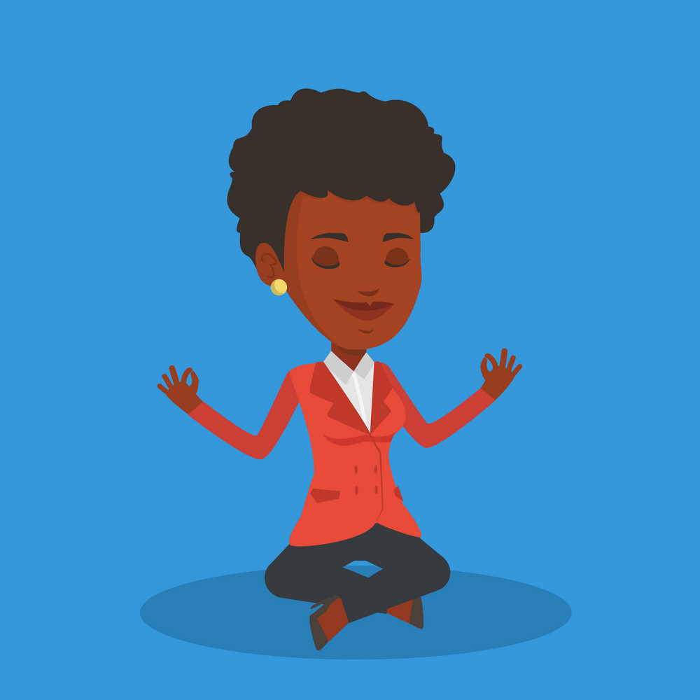 An african businesswoman with eyes closed meditating in yoga lotus position. Businesswoman relaxing in the yoga lotus position. Businesswoman doing yoga. Vector flat design illustration. Square layout