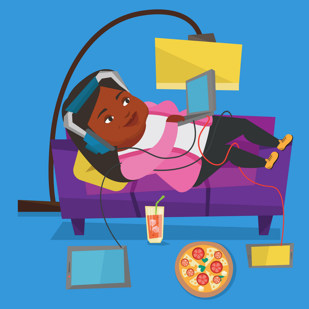 An african fat woman relaxing on a sofa with many gadgets. Woman lying on a sofa surrounded by gadgets and fast food. Plump woman using gadgets at home. Vector flat design illustration. Square layout.