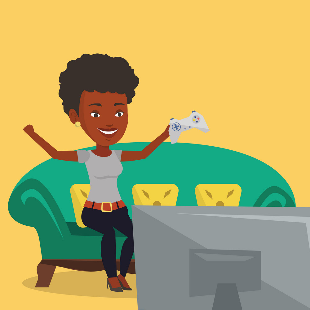 An african girl playing video game. Excited young woman with console in hands playing video game at home. Woman celebrating her victory in video game. Vector flat design illustration. Square layout.