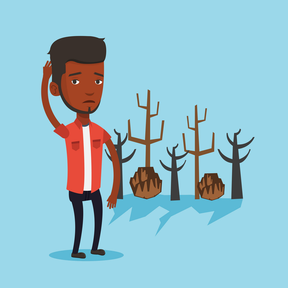An african man scratching head on the background of dead forest. Dead forest caused by global warming or wildfire. Concept of environmental destruction. Vector flat design illustration. Square layout.