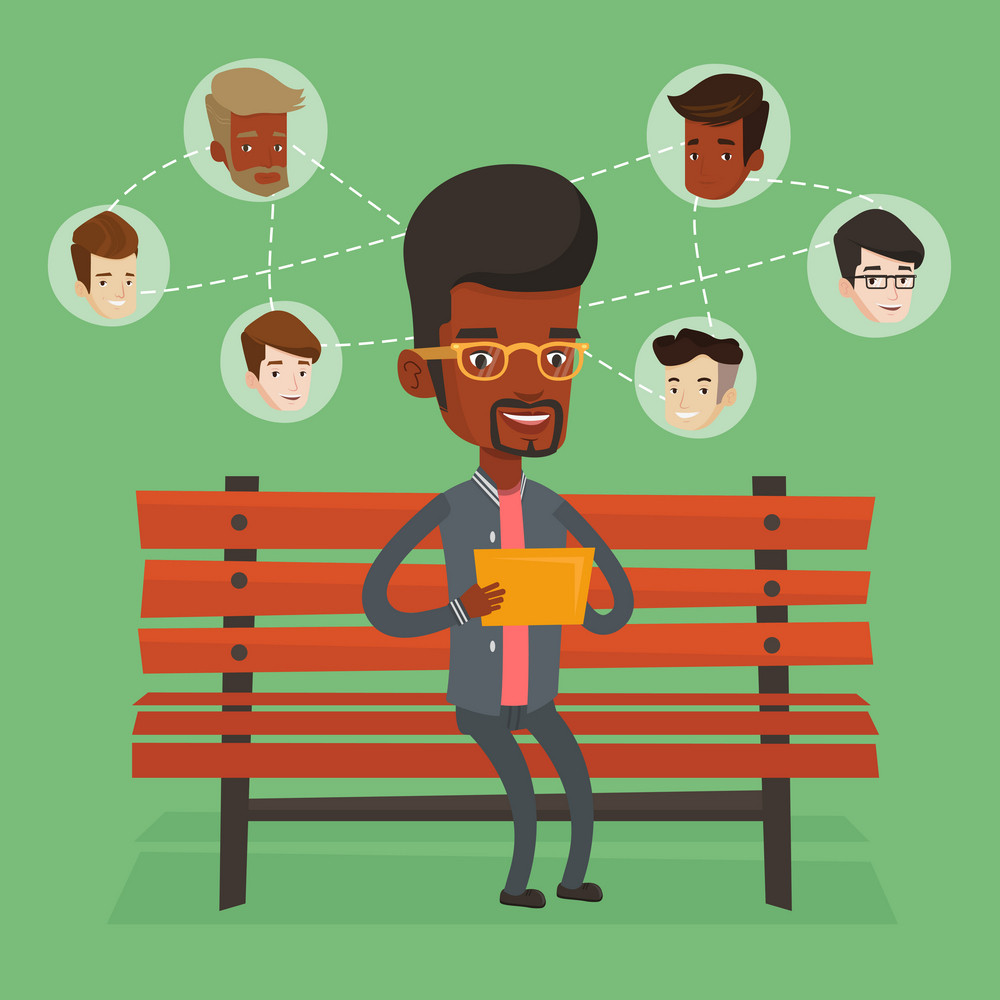 An african man sitting on bench and using tablet computer with network avatar icons above. Man surfing in the social network. Social network concept. Vector flat design illustration. Square layout