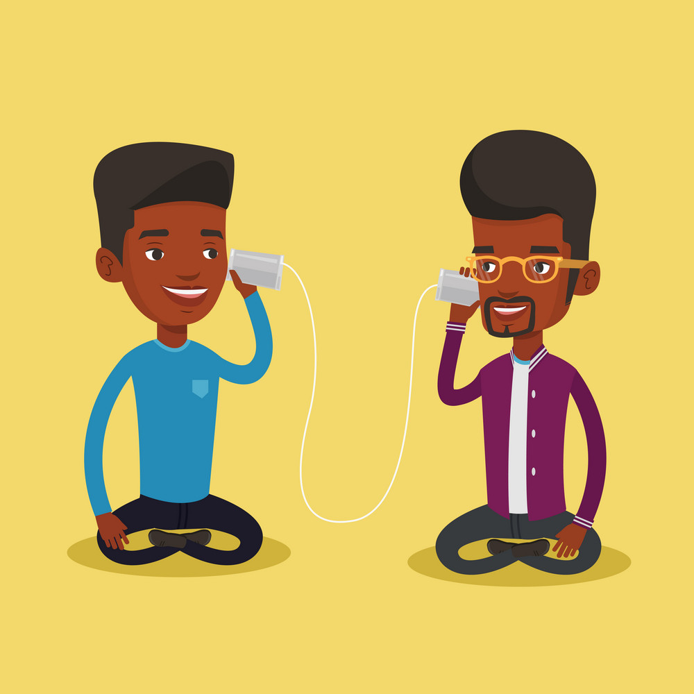 An african men discussing something using tin can telephone. Guy getting good message from friend on tin can phone. Friends talking through a tin phone. Vector flat design illustration. Square layout