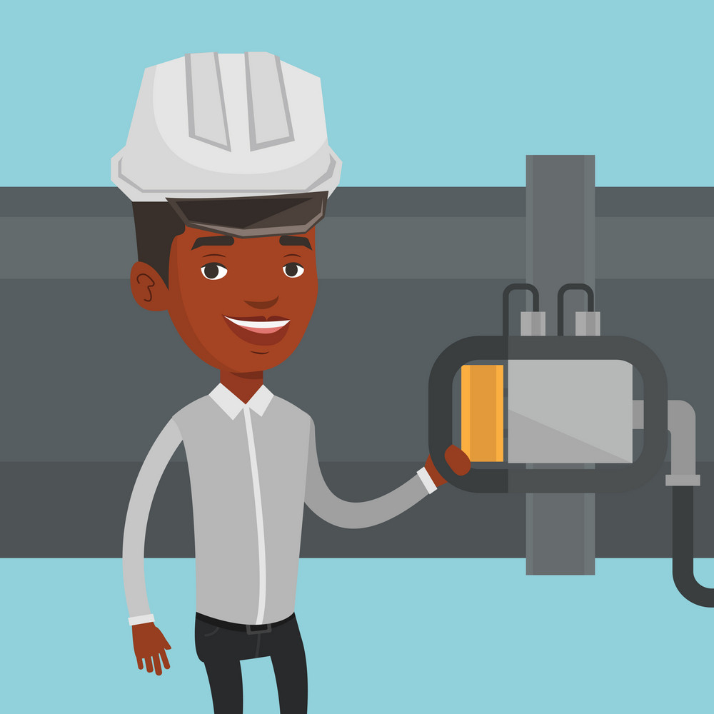 An african operator of oil refinery plant checking detector on pipeline. Worker standing on the background of pipeline. Technician maintaining pipeline. Vector flat design illustration. Square layout.