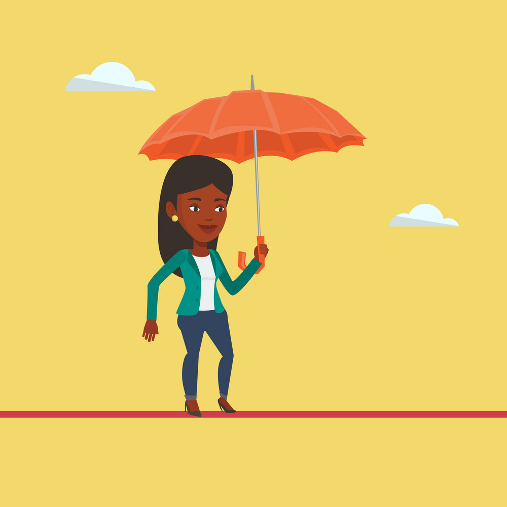 An african risky business woman walking across a high rope with umbrella in hand. Risky business woman balancing on a tightrope. Business risk concept. Vector flat design illustration. Square layout.