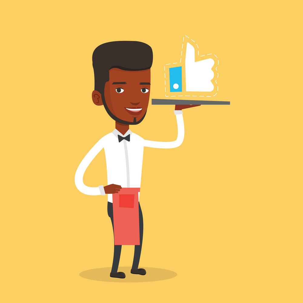 An african waiter carrying tray with social network like button. Waiter holding restaurant tray with like button. Waiter with social network button. Vector flat design illustration. Square layout.