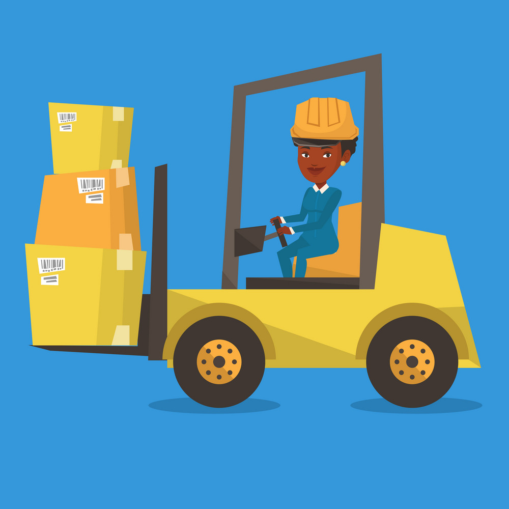 An african warehouse worker loading cardboard boxes. Forklift driver at work in storehouse. Warehouse worker in hard hat driving forklift at warehouse. Vector flat design illustration. Square layout.