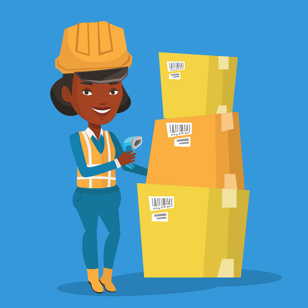 An african warehouse worker scanning barcode on box. Warehouse worker checking barcode of box with a scanner. Warehouse worker in hard hat with scanner. Vector flat design illustration. Square layout.