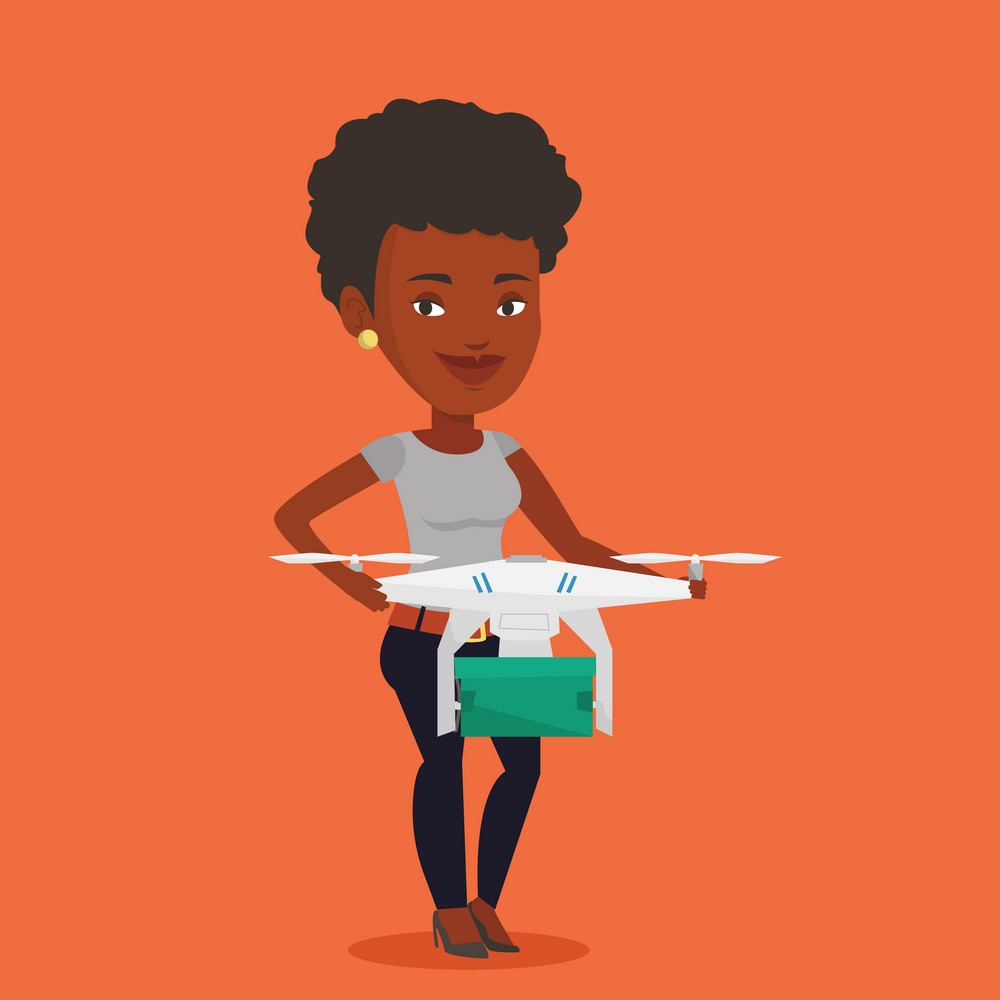 An african woman controlling delivery drone with post package. Woman getting post package from delivery drone. Woman sending parcel with delivery drone. Vector flat design illustration. Square layout.