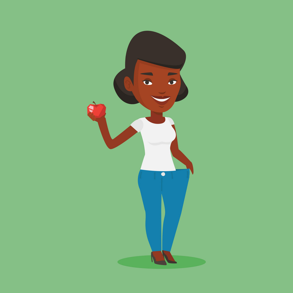 An african woman in oversized trousers holding an apple in hand. Slim woman showing the results of her diet. Concept of dieting and healthy lifestyle. Vector flat design illustration. Square layout.