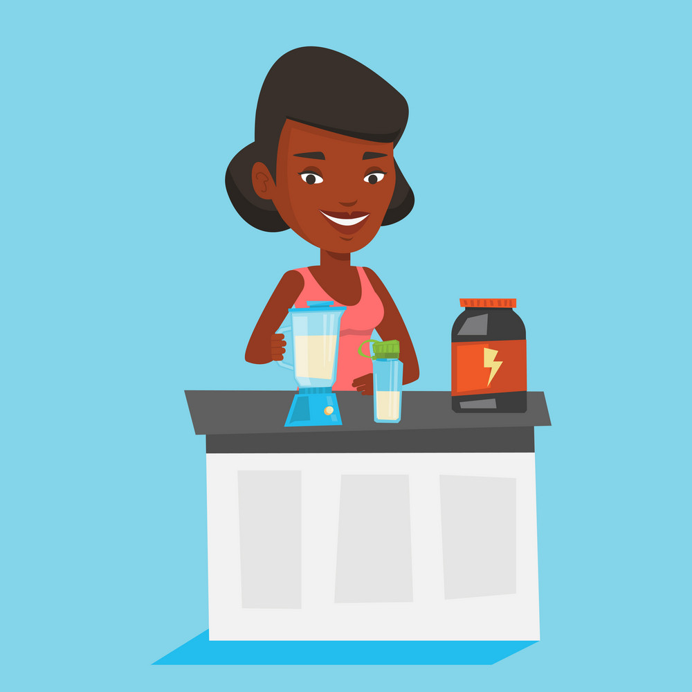 An african woman making protein shake using blender. Woman preparing protein cocktail of bodybuilding food supplements. Woman cooking protein cocktail. Vector flat design illustration. Square layout.