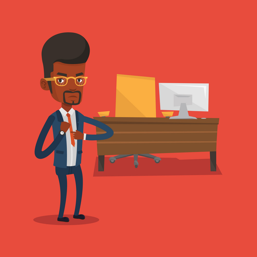 An angry african-american employer pointing at time on his wrist watch. Boss checking time of coming of latecomer employee. Concept of late to work. Vector flat design illustration. Square layout.