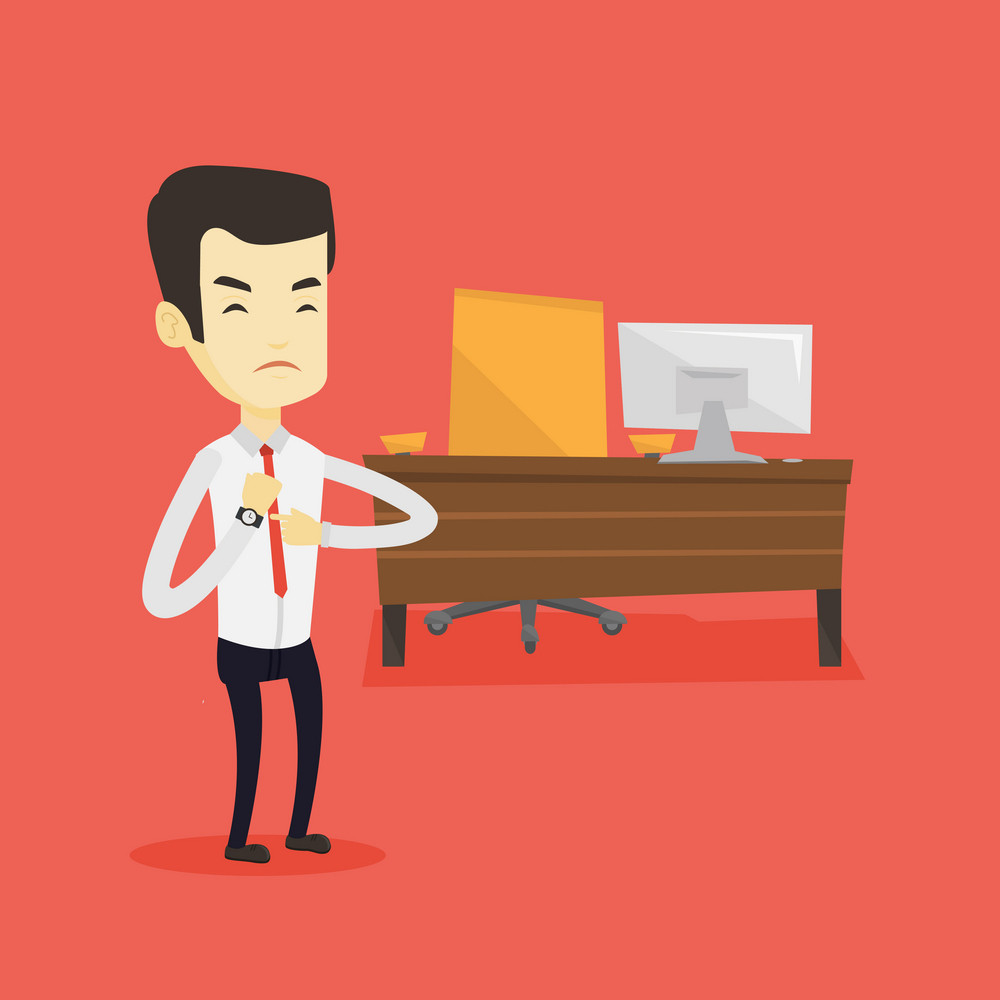 An angry employer pointing at time on wrist watch. Asian employer checking time of coming of his latecomer employee. Concept of late to work. Vector flat design illustration. Square layout.