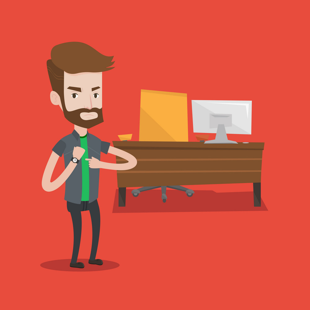 An angry hipster businessman with the beard standing in the office and pointing at his wrist watch. Concept of late to work, deadline. Vector flat design illustration. Square layout.