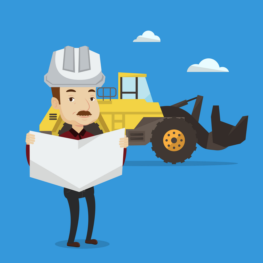An engineer watching a blueprint at construction site. Man with engineer blueprint standing on a background of excavator. Engineer holding a blueprint. Vector flat design illustration. Square layout.