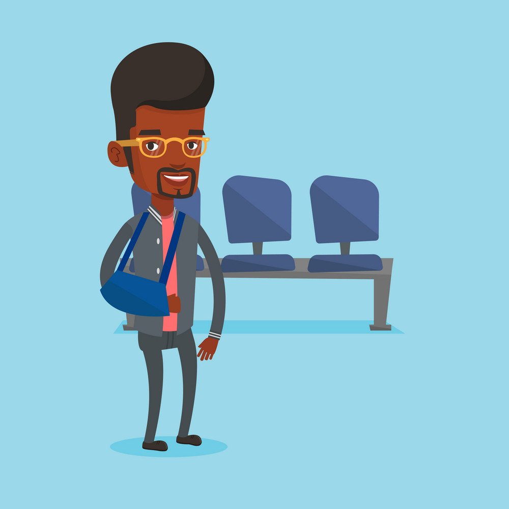 An injured african-american man wearing an arm brace. Young happy man standing with her broken right arm. Cheerful man with broken arm in a cast. Vector flat design illustration. Square layout.
