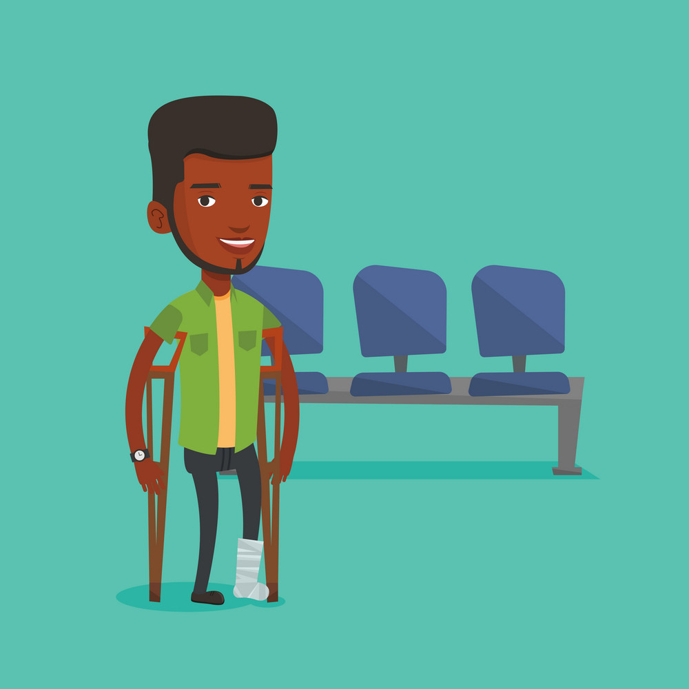 An injured african-american man with leg in plaster. Man with broken leg using crutches. Young man with fractured leg. Vector flat design illustration. Square layout.