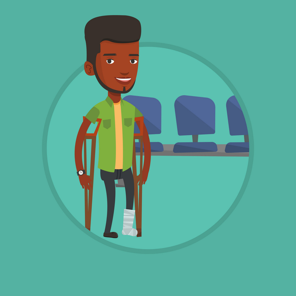An injured african-american man with leg in plaster. Smiling man with broken leg using crutches. Young man with fractured leg. Vector flat design illustration in the circle isolated on background.