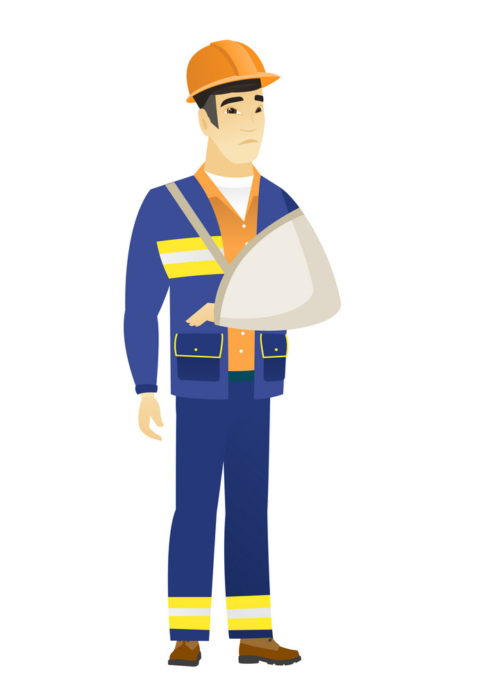 An injured asian builder wearing an arm brace. Young builder with broken arm in sling. Full length of builder with broken arm. Vector flat design illustration isolated on white background.