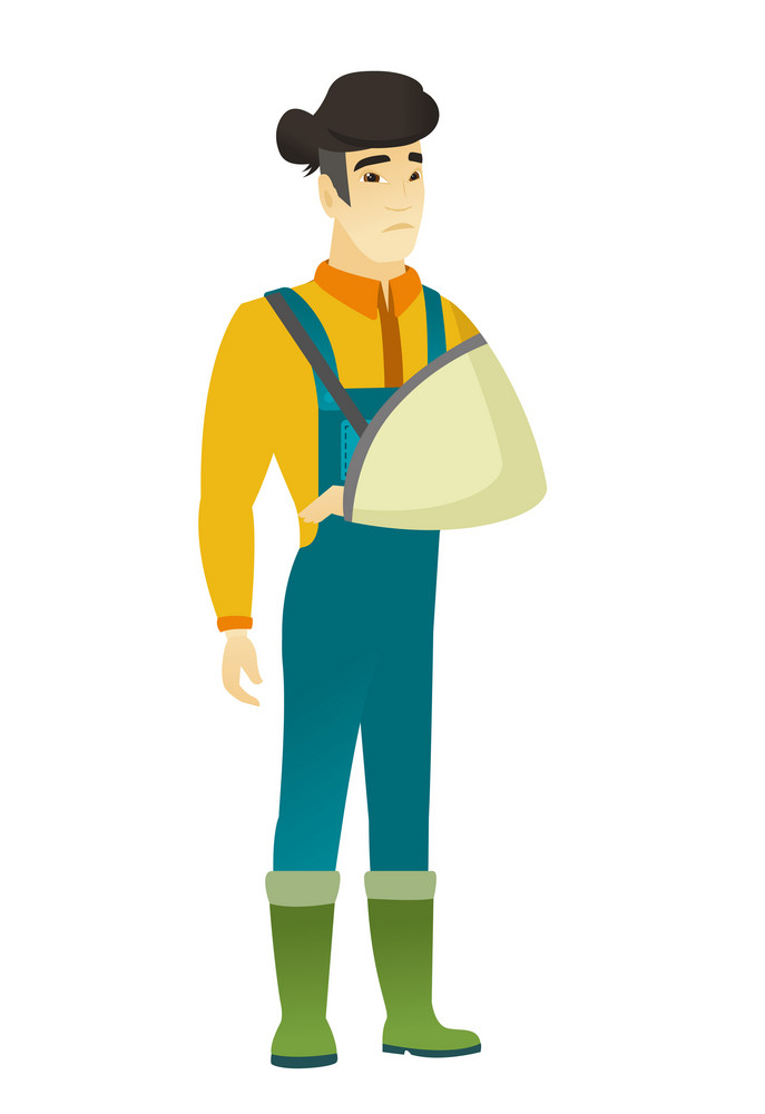 An injured asian farmer wearing an arm brace. Farmer with broken arm in sling. Full length of farmer in coveralls with broken arm. Vector flat design illustration isolated on white background.