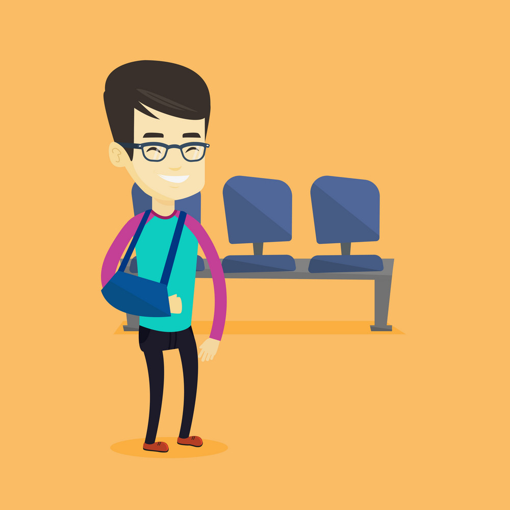 An injured asian man wearing an arm brace. Young smiling man standing with his broken right arm. Cheerful man with broken arm in a cast. Vector flat design illustration. Square layout.